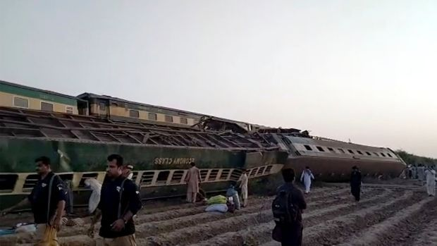 A video still shows the aftermath of a train crash in southern Pakistan. Photograph: AP