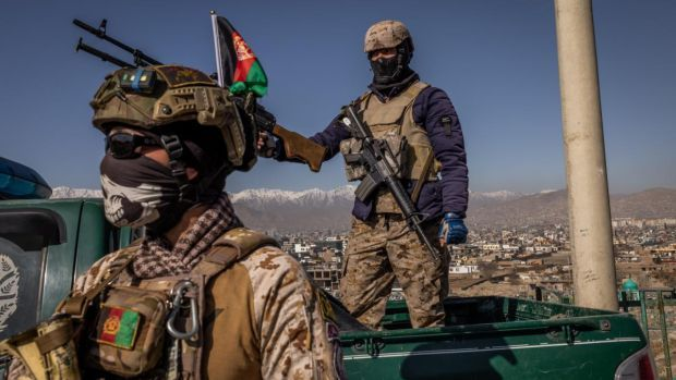 Security forces in Kabul, Afghanistan. Jim Huylebroek/The New York Times