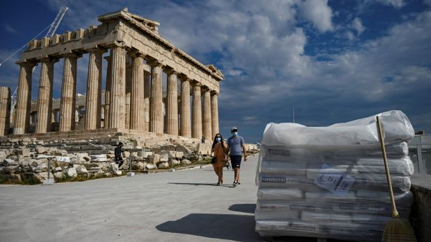 A pile of concrete sacks near the Parthenon. Photograph: Aris Messinis/AFP via Getty Images