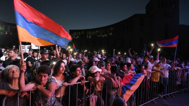 Supporters attend a campaign rally of Armenia's prime minister in central Yerevan, on Thursday, three days before Armenians vote in snap parliamentary elections. Photograph: Karen Minasyan/AFP