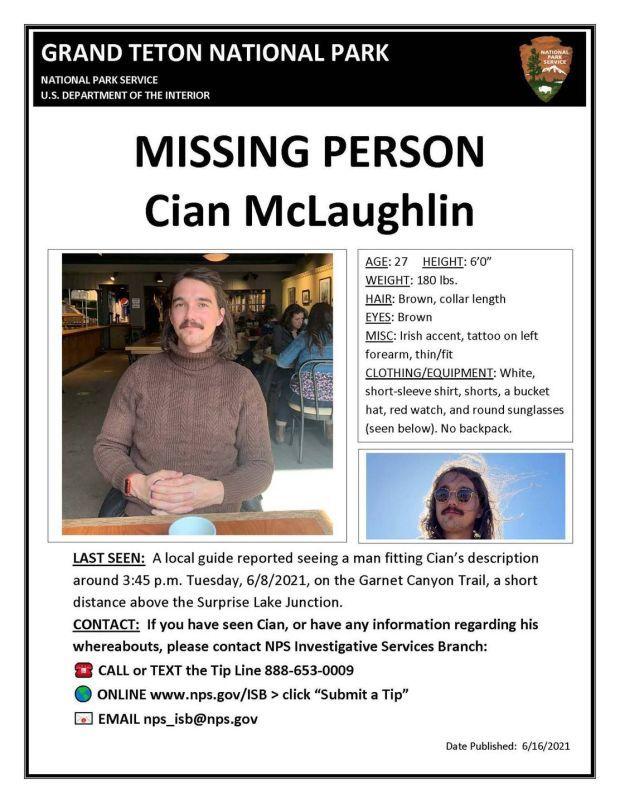 Missing person description of Cian McLaughlin