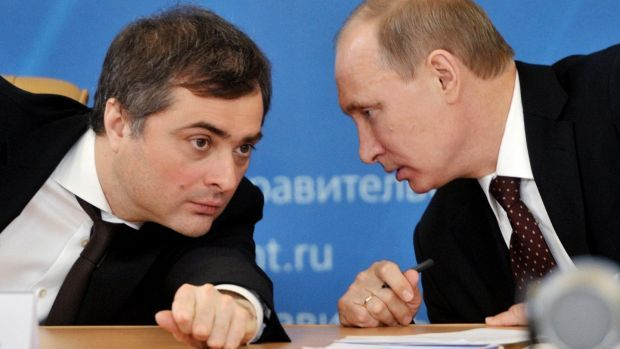 """Vladislav Surkov and then Russian prime minister Vladimir Putin in 2012: """"When the change happened, it was absolutely clear to me that the personality of the new leader provided an opportunity."""" Photograph: Alexei Nikolsky/AFP via Getty Images"""