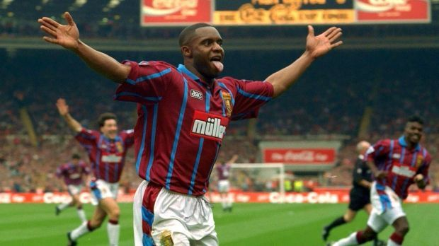 Dalian Atkinson after scoring in the 1994 Coca Cola Cup final for Aston Villa against Manchester United. Photograph: Action Images via Reuters