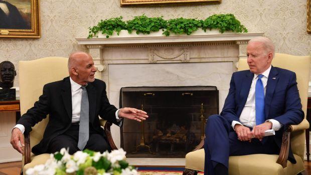 Afghan president Ashraf Ghani with US president Joe Biden in the Oval Office in Washington last Friday. Photograph: Nicholas Kamm/AFP via Getty Images