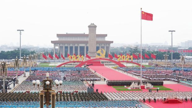 A celebration marking the 100th founding anniversary of the Chinese Communist Party on Tiananmen Square in Beijing. Photograph: EPA