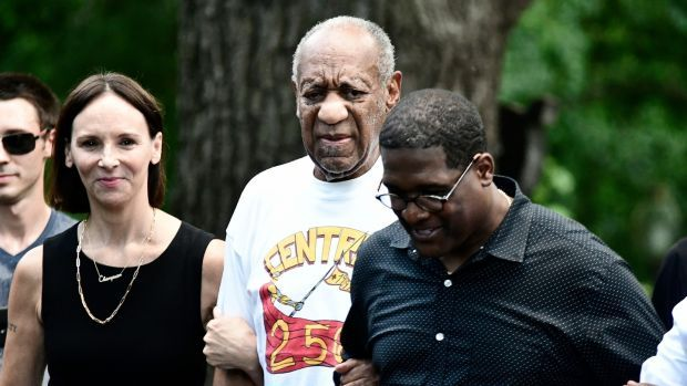 Bill Cosby address the media after his release from prison on Wednesday. Photograph: Bastiaan Slabbers/EPA