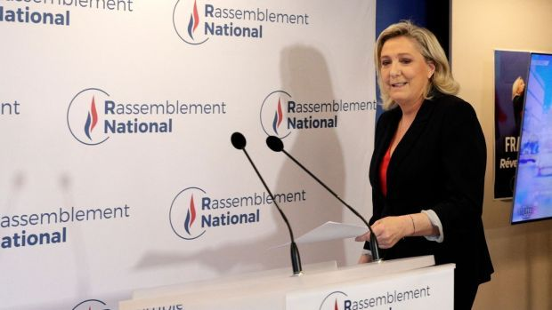 French far-right Rassemblement National leader Marine Le Pen. Photograph: Geoffroy Van Der Hasselt/AFP via Getty Images