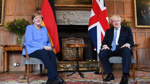 Angela Merkel and Boris Johnson at Chequers. Photograph: Andy Rain/EPA/Bloomberg