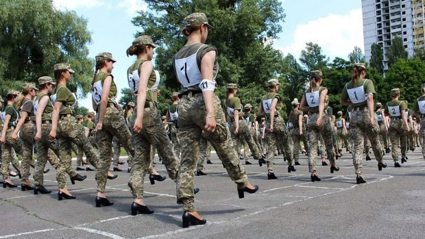 Ukrainian female soldiers wearing heels while taking part in the the military parade rehearsal in Kiev. Photograph: Ukrainian defence ministry press/AFP via Getty Images