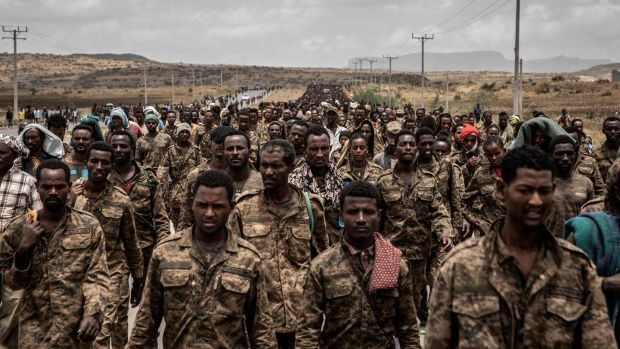 Ethiopian government soldiers are marched through Mekelle on July 2nd. Photograph: Finbarr O'Reilly/The New York Times