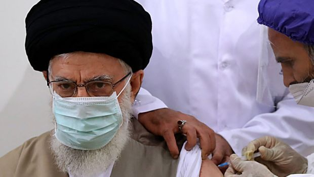 Iran's supreme leader Ayatollah Ali Khamenei received the first dose of a domestically produced coronavirus vaccine. Photograph: Khamenei.ir/AFP via Getty Images