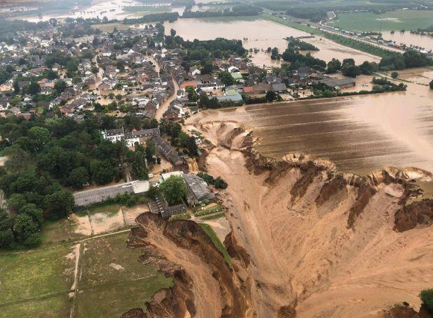The flooded town of Erftstadt following heavy rains. Photograph: Handout/Bezirksregierung Kaln/AFP via Getty