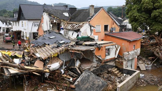 A destroyed house in Schuld near Bad Neuenahr-Ahrweiler, western Germany, after floods caused major damage on Friday. Photograph: AFP via Getty Images