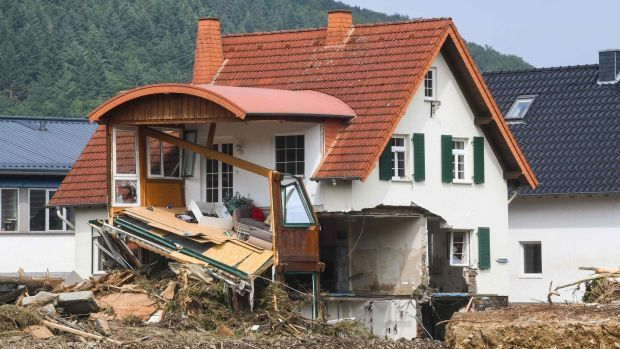 A destroyed house is pictured in Insul near Bad Neuenahr-Ahrweiler, western Germany, on Saturday. Photograph: Getty