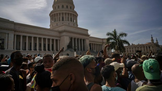 People protest in front of the Capitol in Havana, Cuba against ongoing food shortages and high prices of foodstuffs. File photograph: Ramon Espinosa/AP Photo
