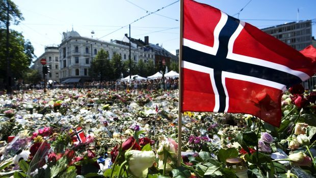 A Norwegian flag at a makeshift memorial outside Oslo Cathedral in July, 2011, in honour of the victims of the attacks perpetrated by Anders Behring Breivik. Photograph: Jonathan Nackstrand/AFP via Getty Images
