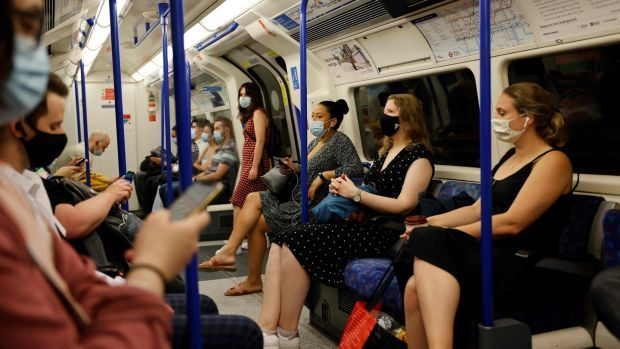 Commuters with face masks on the London Underground on July 19th. Photograph: Tolga Akmen/AFP via Getty Images