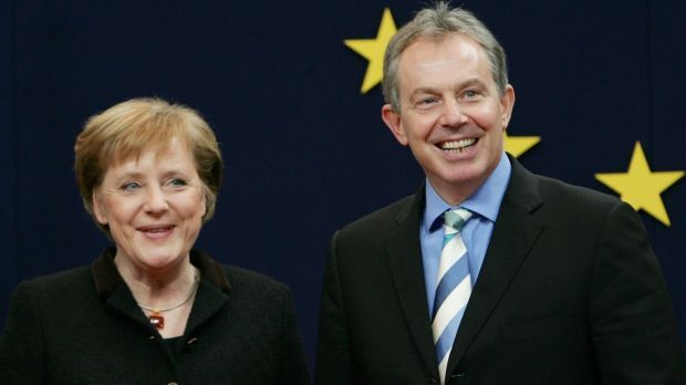 German chancellor Angela Merkel and British prime minister Tony Blair at EU summit in Brussels in December 2005. Photograph: Thierry Roge/Reuters