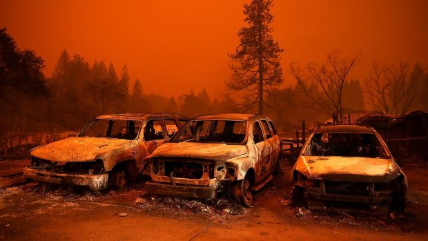 Cars destroyed by the Camp Fire in Paradise in 2018. Photograph: Justin Sullivan/Getty Images