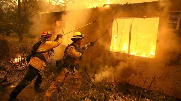 Firefighters trying to douse flames in Paradise in November 2018. Photograph: Justin Sullivan/Getty Images