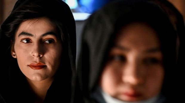 Afghan women take part in a gathering at a hall in Kabul on August 2nd against reported human rights violations against women by the Taliban in Afghanistan. Photograph: Sajjad Hussain/AFP via Getty Images