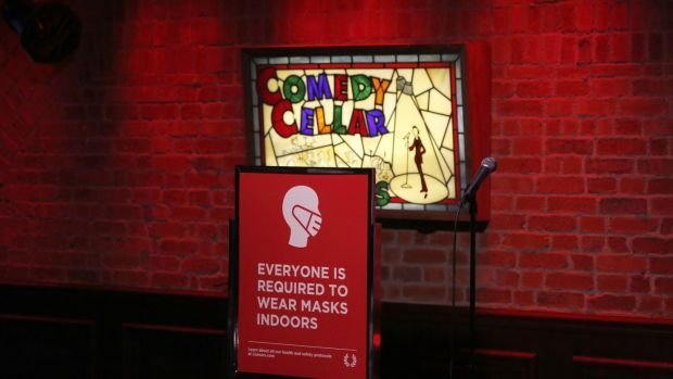 A sign at the Comedy Cellar at the Rio Hotel & Casino in Las Vegas at the weekend. Photograph: Gabe Ginsberg/Getty Images
