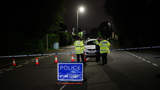 A police cordon on Royal Navy Avenue, near the scene of a shooting in the Keyham area of Plymouth. Photograph: Ben Birchall/PA Wire