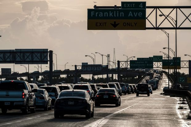 Vehicles pack a highways almost to a standstill as people leave New Orleans in advance of the arrival of Hurricane Ida. Photograph: Dan Anderson/EPA