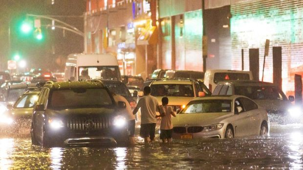 The remnants of Hurricane Ida hit the Queens borough of New York, causing floods. Photograph: Justin Lane/EPA