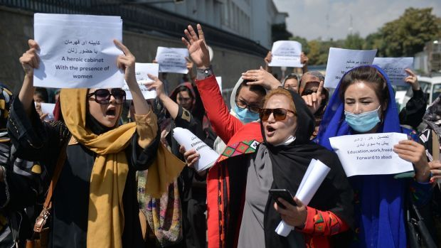 Afghan women protesting for their rights under Taliban rule in Kabul last week. Photograph: Hoshang Hashimi/AFP via Getty Images