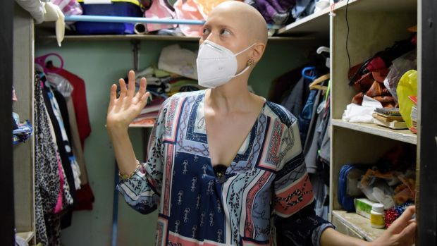 Cristian Tinoco, who has cancer. Her father, former Sandinista minister Victor Hugo Tinoco, was detained in a police raid in June. Photograph: Inti Ocon/New York Times