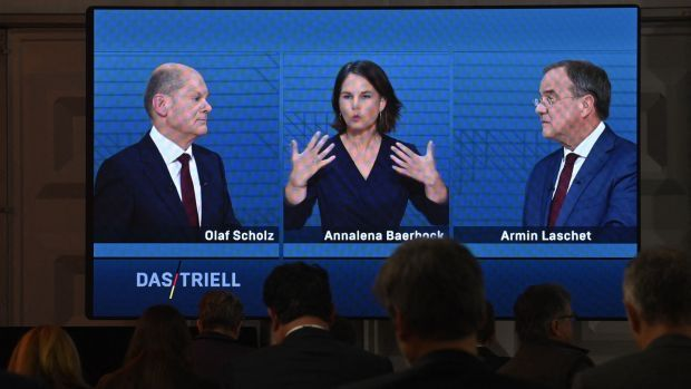 Minister for finance Olaf Scholz of the SPD, Greens co-leader Annalena Baerbock and CDU leader Armin Laschet participating in a television debate in Berlin on Sunday. Photograph: John MacDougall/AFP via Getty Images