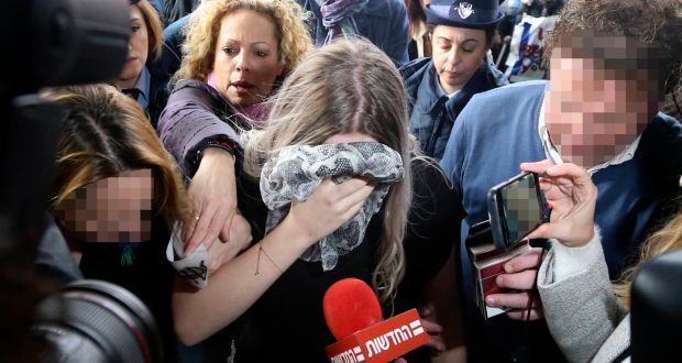 The woman arriving at Famagusta district court for sentencing in 2019. Photograph: Petros Karadjias/AP