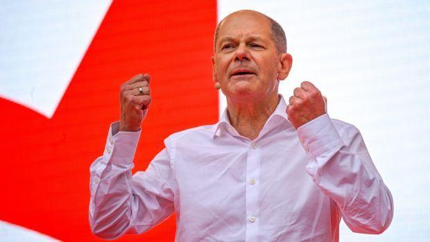 SPD chancellor candidate Olaf Scholz. Photograph: Sascha Schuermann/Pool/EPA