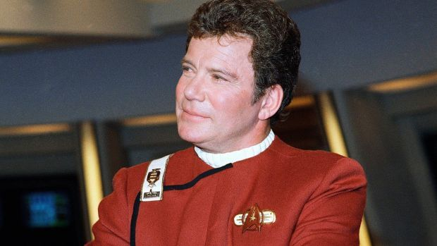 William Shatner as James T Kirk at a photo op in 1998 for the film Star Trek V: The Final Frontier. Photograph: Bob Galbraith/AP