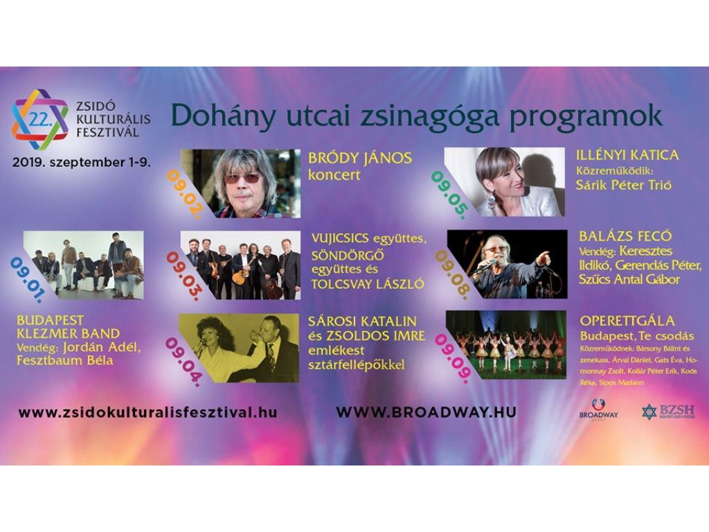 Zsidó Kulturális Fesztivál 2019: Vujicsics együttes, Söndörgő együttes, Tolcsvay László koncert