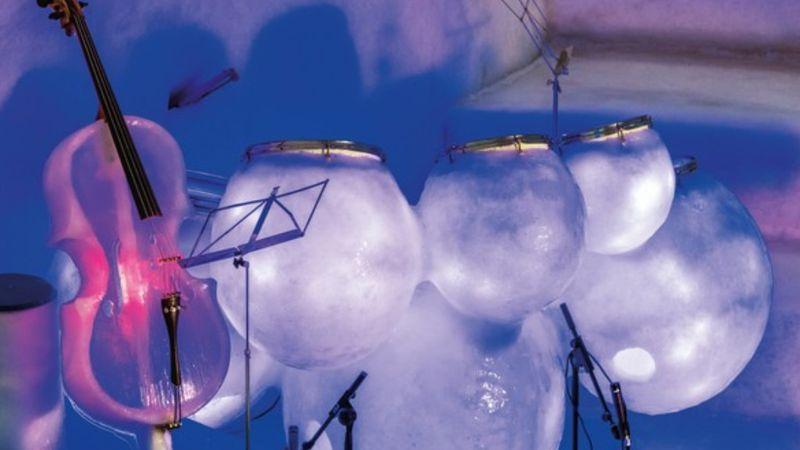 Jégzenei fesztivál csak jégből készült hangszerekkel – igluban