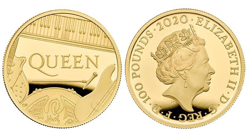 A Queen és a queen:együtt az emlékérmén a zenekar és a királynő
