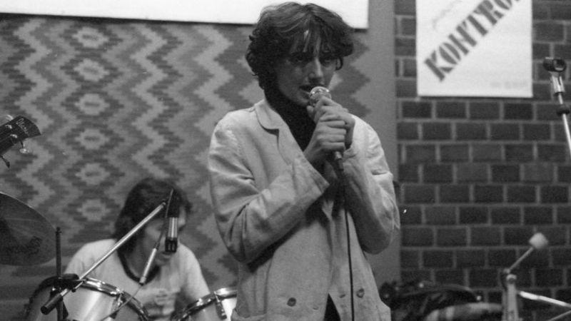 1981. Budapest XIV. Kassák Klub, Kontroll Csoport koncert. Bárdos Deák Ágnes énekes, Iványi Norbert dobos.(Fortepan)