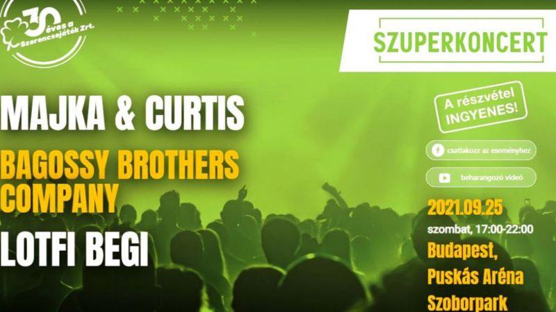 Majka és Curtis, Bagossy Brothers Company: ingyenes nagykoncerttel ünnepel a Szerencsejáték Rt.