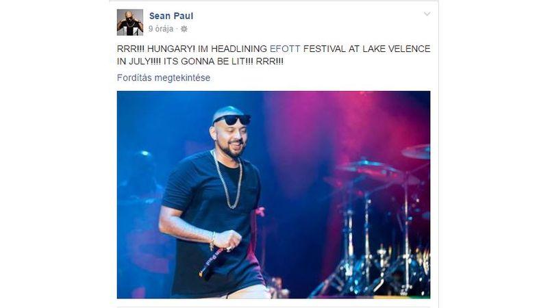 Sean Paul a Facebookon jelentette be, hogy jön az EFOTT-ra