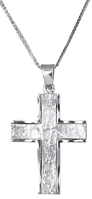 Βαπτιστικοί Σταυροί με Αλυσίδα Λευκόχρυσος σταυρός με αλυσίδα c000036 000036C Ανδρικό Χρυσός 14 Καράτια