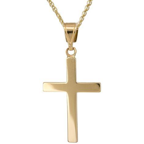 Βαπτιστικοί Σταυροί με Αλυσίδα Χρυσός σταυρός με αλυσίδα 017224C Ανδρικό Χρυσός 14 Καράτια