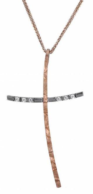 Βαπτιστικοί Σταυροί με Αλυσίδα Ροζ Σταυρός Κ14 C000447 000447C Γυναικείο Χρυσός 14 Καράτια