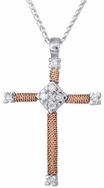 Βαπτιστικοί Σταυροί με Αλυσίδα Δίχρωμος σταυρός με αλυσίδα Κ14 012164 012164 Γυναικείο Χρυσός 14 Καράτια