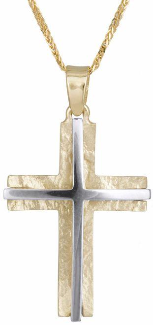 Βαπτιστικοί Σταυροί με Αλυσίδα Δίχρωμος σταυρός 14Κ με αλυσίδα 012301C Ανδρικό Χρυσός 14 Καράτια