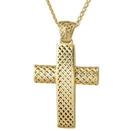 Βαπτιστικοί Σταυροί με Αλυσίδα Βαπτιστικός Χρυσός Σταυρός 14Κ με Αλυσίδα 014724C Ανδρικό Χρυσός 14 Καράτια