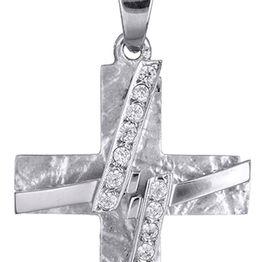 Βαπτιστικοί Σταυροί με Αλυσίδα Λευκόχρυσος Γυναικείος Σταυρός με Αλυσίδα Κ14 017429C Γυναικείο Χρυσός 14 Καράτια