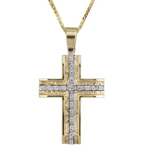 Βαπτιστικοί Σταυροί με Αλυσίδα Γυναικείος σταυρός Κ14 C007021 007021C Γυναικείο Χρυσός 14 Καράτια