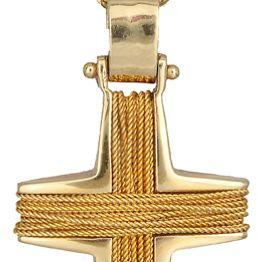 Βαπτιστικοί Σταυροί με Αλυσίδα Χρυσός ανδρικός σταυρός με σύρμα C007884 007884C Ανδρικό Χρυσός 14 Καράτια